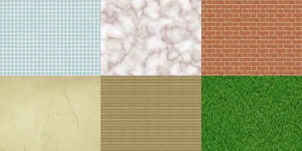 「タイル」「大理石」「レンガ」「漆喰(しっくい)」「畳」「芝生」のテクスチャ素材
