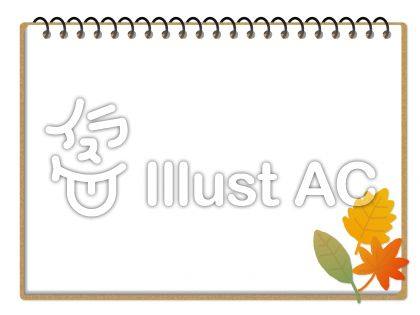 リング付きのメモ手帳に落ち葉をあしらった飾り背景