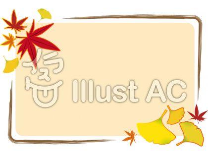 和風のデザインに合いそうな秋のフレーム飾り枠