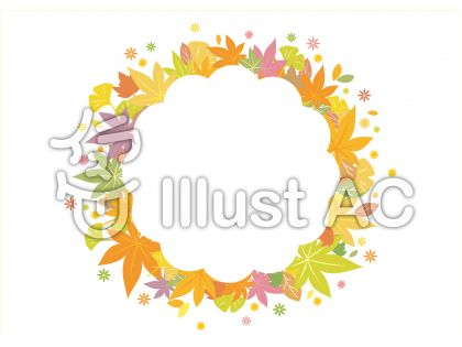 淡い色みのモミジやイチョウがやさしい雰囲気を醸し出す丸型フレーム飾り枠