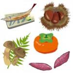 秋が旬の食べ物イラスト(果物/野菜/魚/スイーツ)無料フリー素材