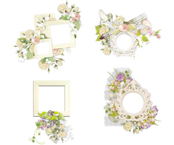 白を基調とした柔らかな雰囲気が大人かわいいガーリー&ナチュラルな飾り枠