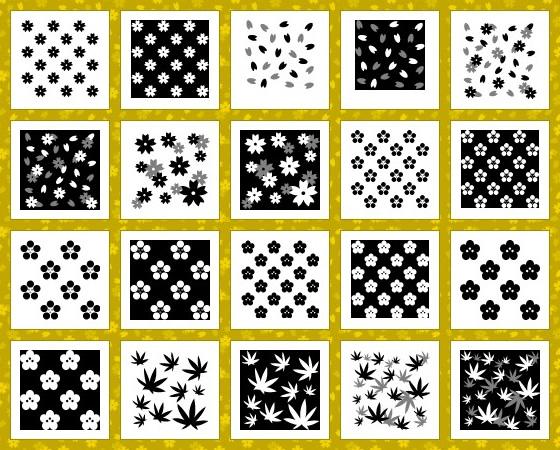 和風花柄(もみじ・桜・桃)のテクスチャ素材