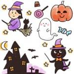 [かぼちゃ/魔女/黒猫/お化け屋敷]ハロウィン手書き(手描き)イラスト無料素材