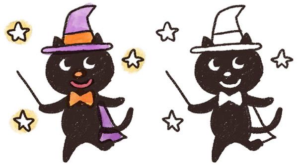 魔女の格好をした可愛い黒ねこのハロウィンイラスト