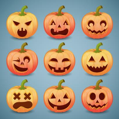 ハロウィンかぼちゃランタンのハッピースマイルイラスト