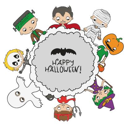 ハロウィンの仮装をした子供たちが輪になったハロウィンフレーム飾り背景イラスト