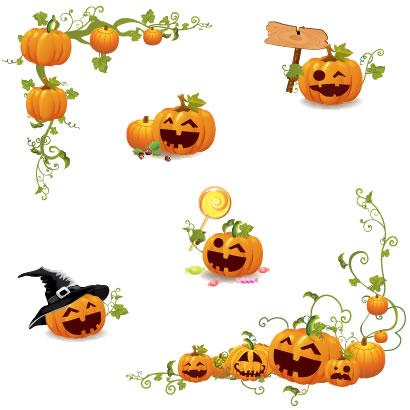 かぼちゃランタンのコーナーフレーム飾り枠イラスト