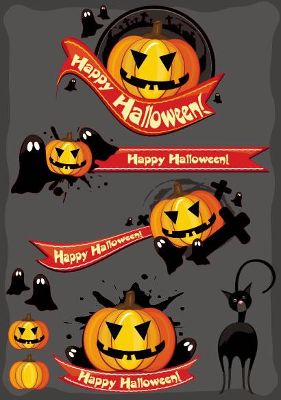 かぼちゃランタンとお化けの見出しリボンイラスト