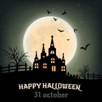 怪しい月夜と洋館のハロウィン背景イラスト