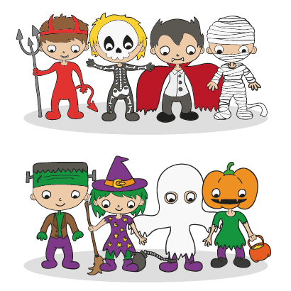 ハロウィンの仮装をした子供のキャラクターイラスト