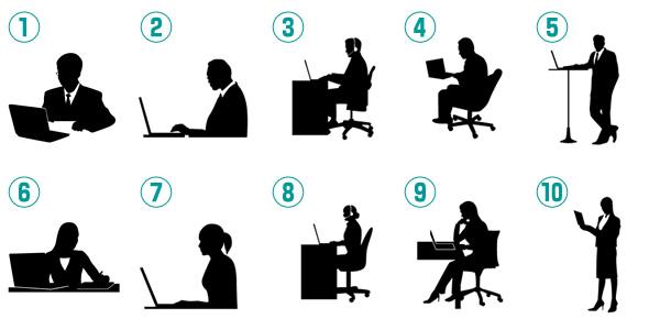 ノートパソコンで仕事をする男性ビジネスマン・女性OLのシルエットイラスト
