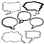 吹き出し(フキダシデザイン)のシルエットイラスト無料フリーフォント『Talkies』