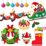 クリスマス(サンタクロース/トナカイ/ツリー/リース/ケーキ/プレゼント)の無料フリーイラスト素材