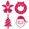 クリスマスのシルエットアイコン無料イラスト素材(サンタクロース/トナカイ/ツリー/ベル/雪の結晶)