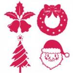 クリスマス(サンタクロース/トナカイ/ツリー/ベル/雪の結晶)のシルエットアイコン無料フリーイラスト素材