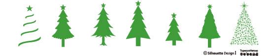 クリスマスツリーのシルエットイラスト素材