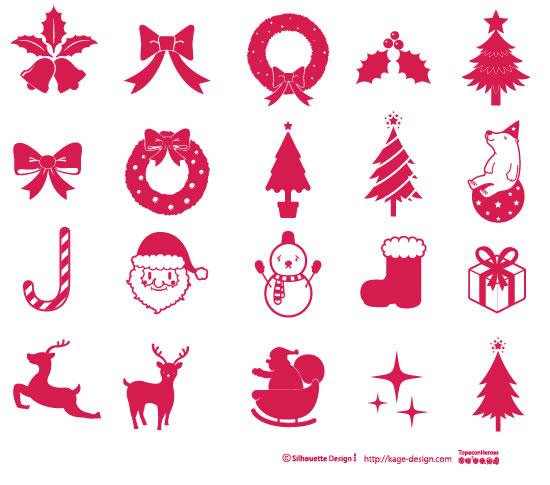 リース/リボン/ヒイラギ/雪だるま/プレゼント/ブーツなどのシルエットイラスト素材