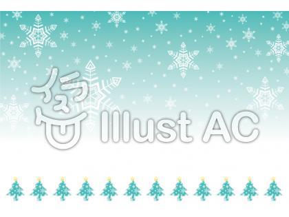 ガーリーなデザインに合う雪の結晶とクリスマスツリーの背景