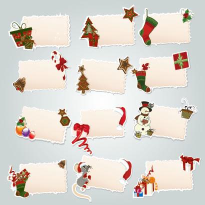 レトロで外国風のクリスマスイラストがついたメモ用紙風フレーム飾り枠