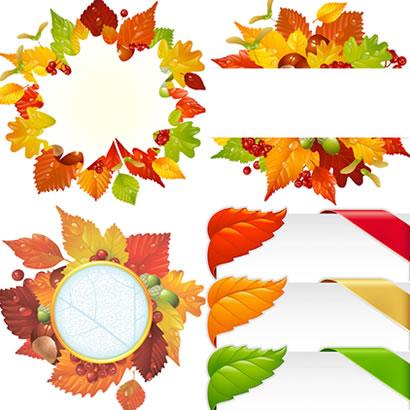 落ち葉と木の実でデコレーションした丸型飾り枠&コーナーフレーム
