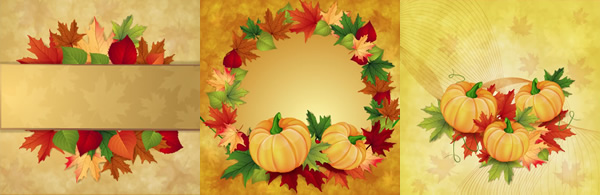 かぼちゃと紅葉のフレーム飾りと見出し背景
