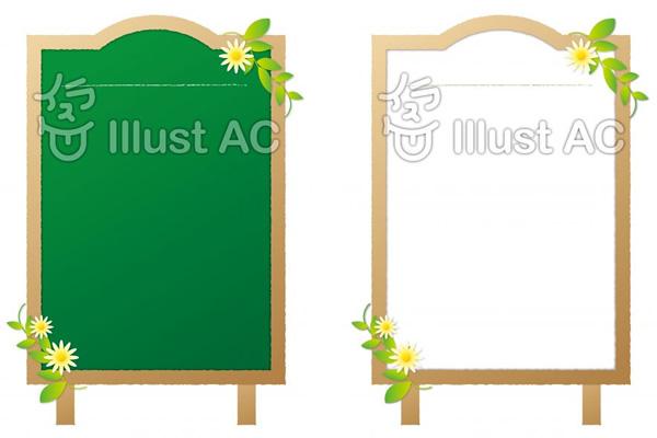木製フレームに花を飾った縦型のメッセージボード(メニューボード)