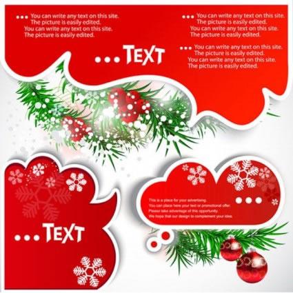 インパクトあるレイアウトが目を引クリスマスカラーの吹き出しイラスト