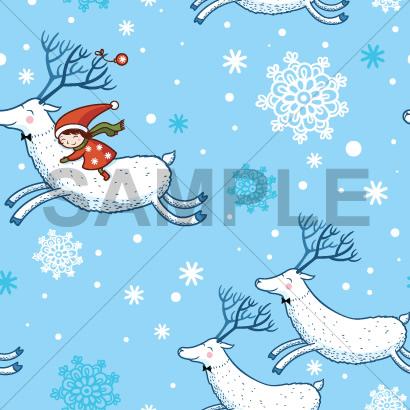 トナカイに乗った女の子と雪の結晶のテクスチャーパターン背景