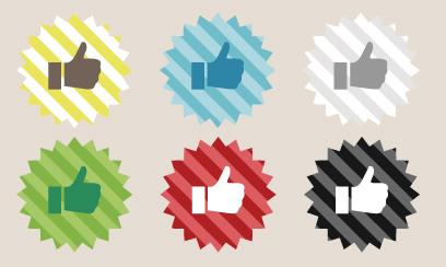 ストライプ柄の背景がカラフルなフェイスブックアイコン