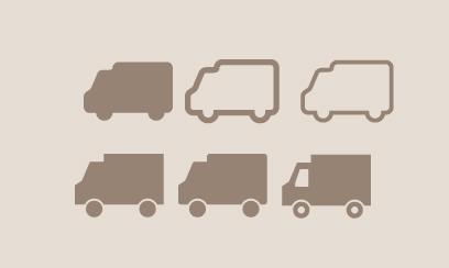 シンプルな配送トラックのシルエットイラスト素材