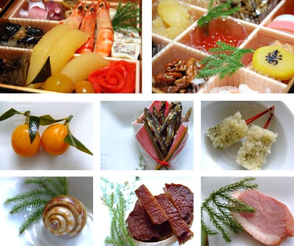 ごまめ・アワビ・キンカンなどおせちの定番料理の写真素材