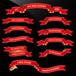 [レトロ/アンティーク/ビンテージ/手書き]リボンフレーム飾り枠のベクター(ai)イラスト無料素材