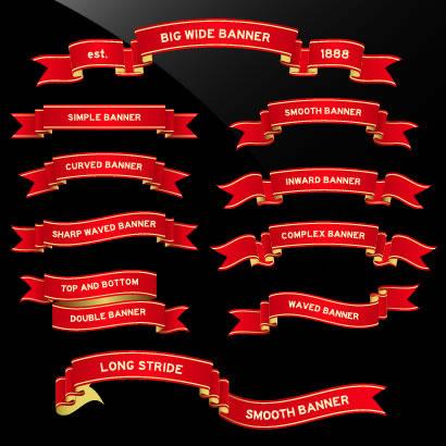 色んな形状の赤いリボンフレーム〜横長・2段【無料イラスト素材】
