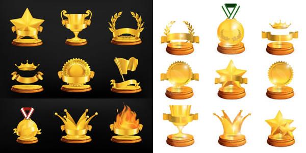 ハイクオリティなリボンフレーム付き受賞アイコンイラスト素材