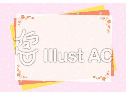 桃の花の飾り付き和紙風背景フレームイラスト