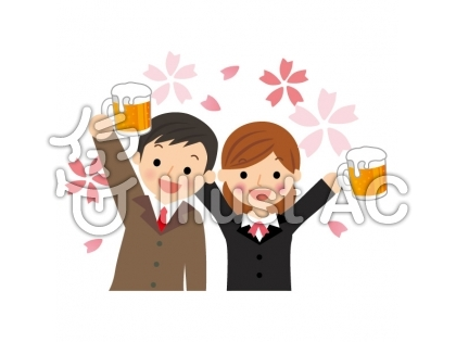 花見をしながらビールで乾杯する会社員とOLのイラスト