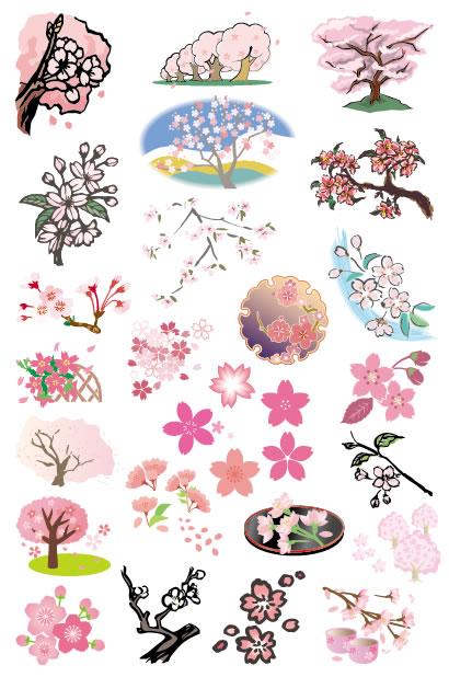色んなデザインの桜の木・桜の花の無料ベクターイラスト