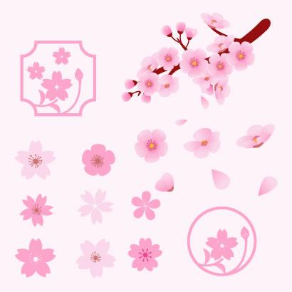 可愛い桜の花びらの無料ベクターイラスト