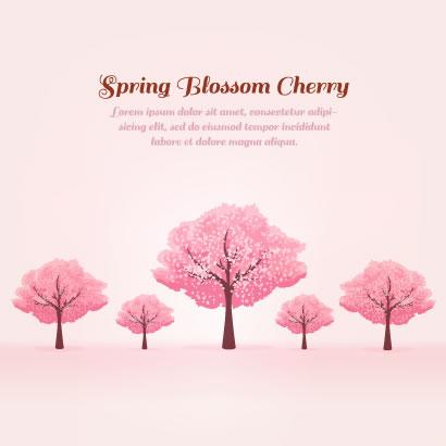 満開に咲いたかわいい桜の木の無料ベクターイラスト