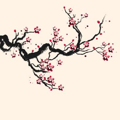 墨で描いたような桜の枝の手書き風イラスト無料和風素材