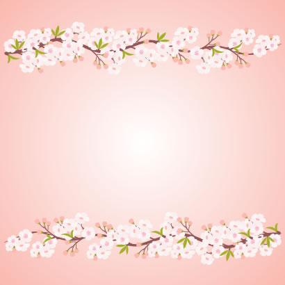 桜の枝の背景フレーム飾り枠無料ベクターイラスト
