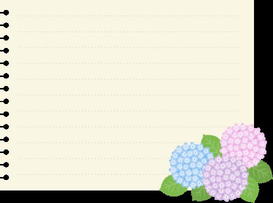 紫陽花を飾ったメモ用紙のイラスト素材
