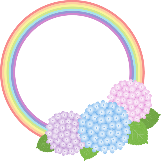 虹とアジサイの丸型フレーム枠イラスト