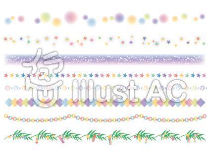 パステルカラーの淡い色合いが可愛い七夕のライン飾り罫線イラスト