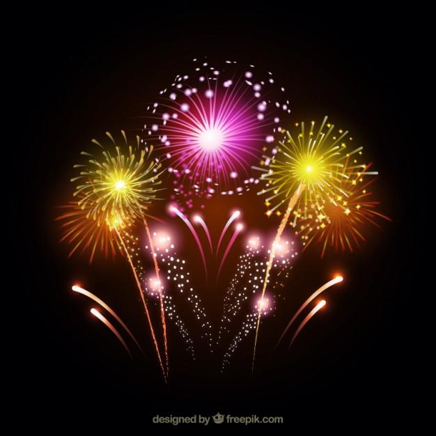 華やかな花火が打ち上がった夜空のイラスト