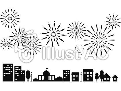 街の建物の上空に上がった打ち上げ花火のシルエットイラスト