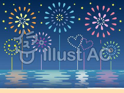夏の海に映った打ち上げ花火のイラスト
