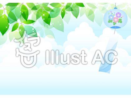 風鈴と緑の葉が涼し気な夏空の背景イラスト
