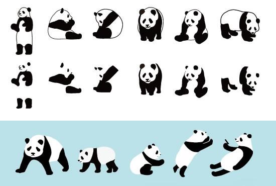 パンダのシルエットイラスト無料素材